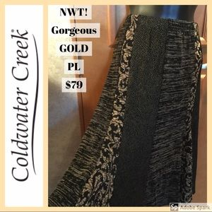 💛NWT! $79 Gold Black Travel Skirt Coldwater Creek